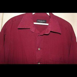 YSL Pour Homme Burgundy Short Sleeve Shirt SLP